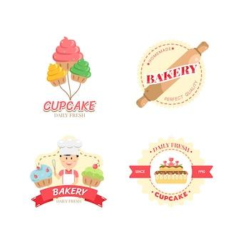 Food label bäckerei süße bäckerei dessert süßigkeiten shop design-vorlage