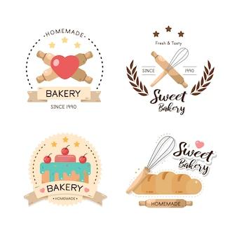 Food label bäckerei, süße bäckerei, dessert, süßwarenladen - design vorlage.