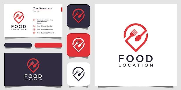Food location logo mit dem konzept einer stecknadel kombiniert mit einer gabel und einem löffel. visitenkarten-design