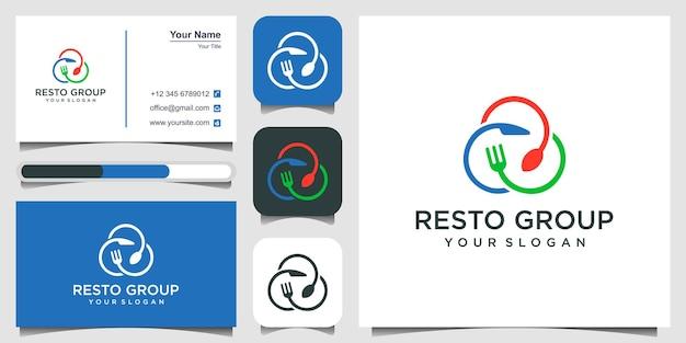 Food-logo-design mit dem konzept eines gabelmessers und eines löffels