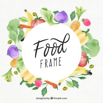 Food-rahmen in aquarell-stil