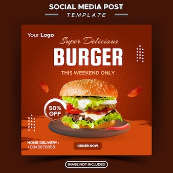 Food-restaurant für social-media-vorlagen spezielle frische köstliche burger-menü-promo