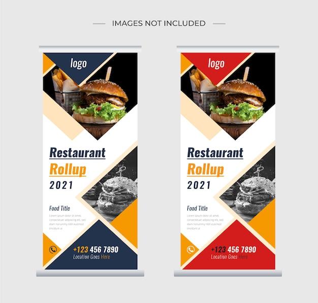 Food restaurant roll up stand banner vorlage design