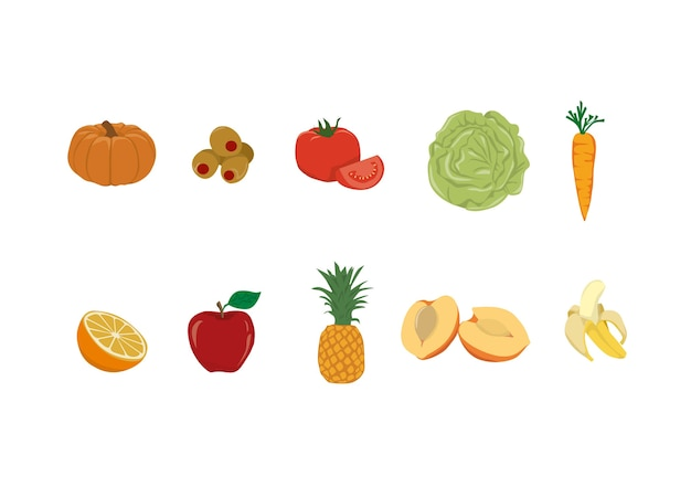 Food set illustrationen