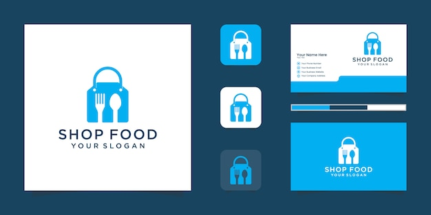 Food shop logo mit einkaufstasche und negativer raumgabel und löffel und inspirierter visitenkarte