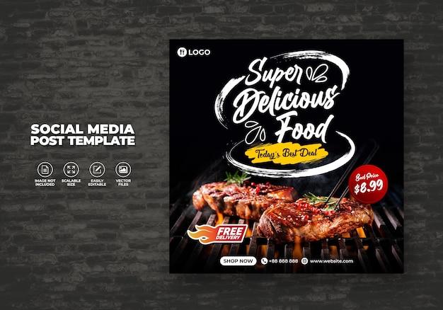 Food social media promotion und kostenloses banner-menü post design template
