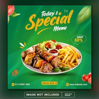 Food-social-media-werbung und instagram-banner-post-design-vorlage oder quadratischer flyer
