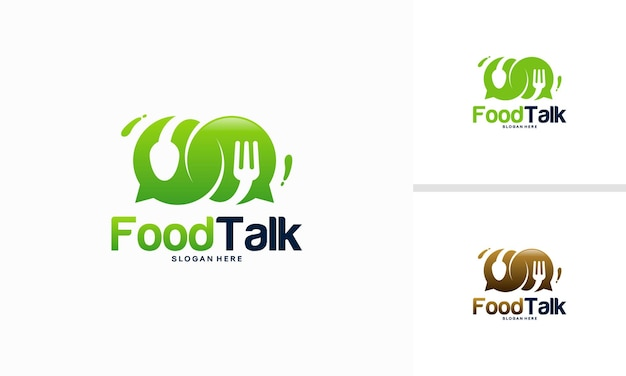 Food talk logo vorlage entwirft vektorgrafiken, food diskuss logo, food forum logo