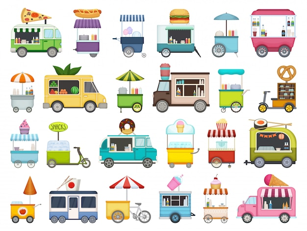 Food trailer cartoon set symbol. isolierte karikatursatzikonen van restaurant. illustration food trailer auf weißem hintergrund.