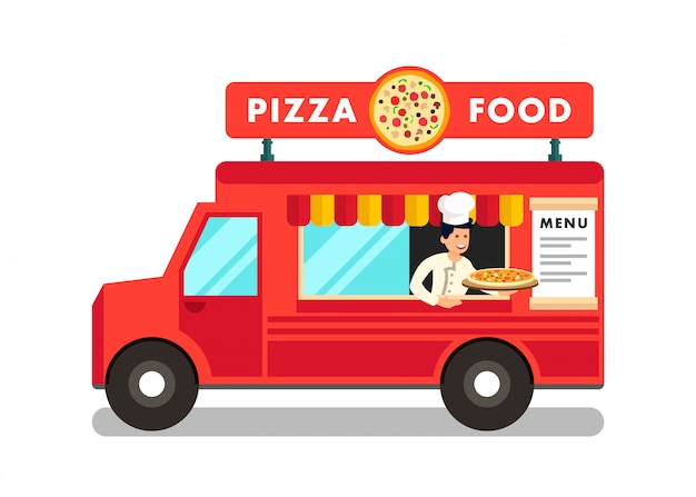 Food truck bei street food festival illustration