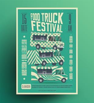 Food truck festival poster banner flyer vorlage. vintage gestaltete illustration.