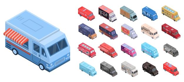 Food truck icons set. isometrischer satz lebensmittel-lkw-vektorikonen für das webdesign lokalisiert auf weißem hintergrund