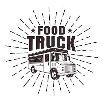 Food truck stempel oder etikett mit strahlen und text im monochromen retro-stil isoliert
