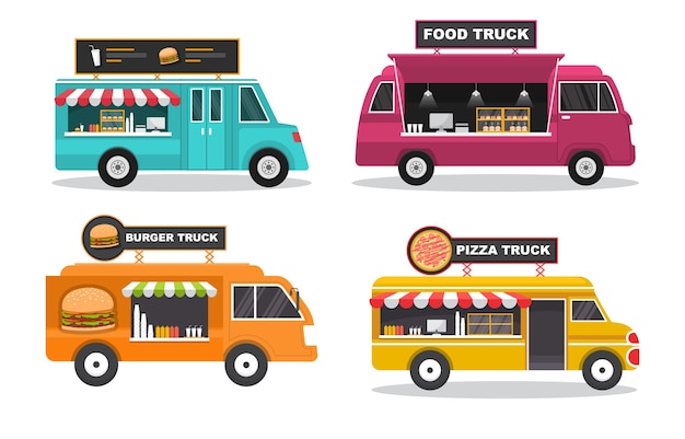 Food truck van auto fahrzeug transport street shop set