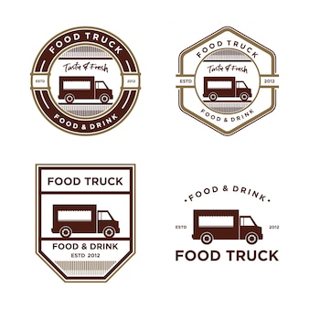 Food truck vintage logo