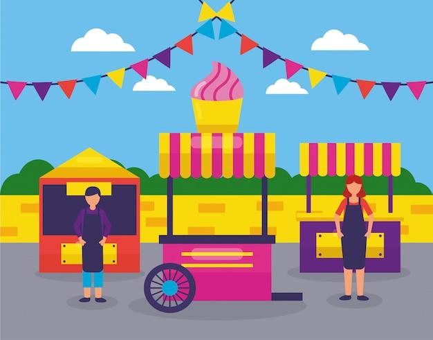 Food trucks festival flache bauform