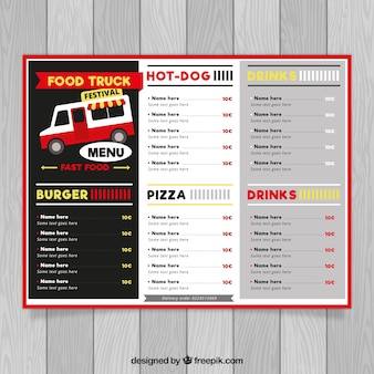 Foodtruck-menü mit vielfalt an speisen