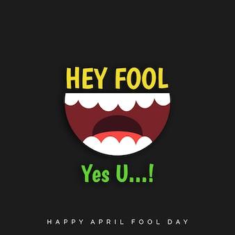 Fools day april schriftzug typographie auf schwarzem hintergrund für grußkarte anzeige promotion poster artikel-marketing-signage-e-mail-vektor-illustration