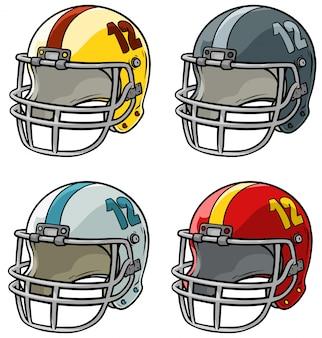 Football-helm-vektorsatz der karikatur amerikanischer