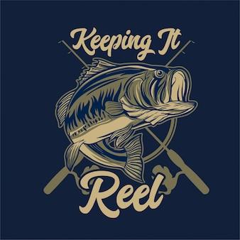 Forellenbarsch-fischen mit rod und typografie, die es bandspule hält