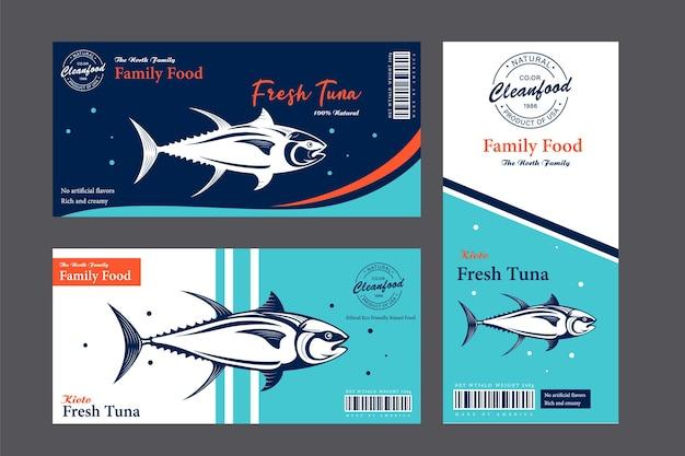 Forellenetiketten und verpackungsdesignkonzepte flache fischetiketten Premium Vektoren