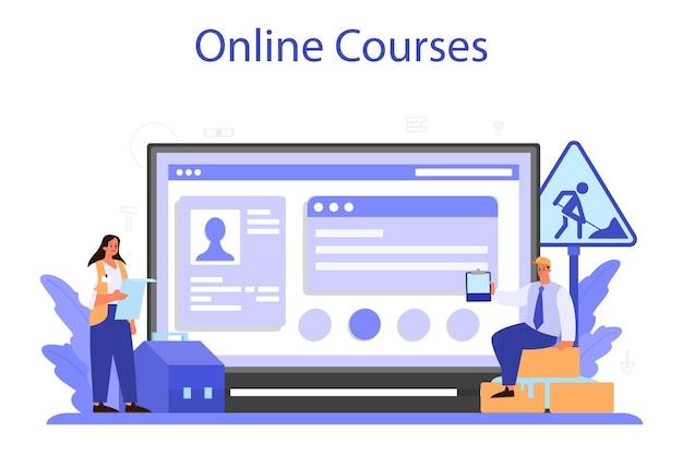 Foreman online-service oder plattform. hauptingenieur auf der baustelle. bauindustrie, hausentwicklungsgeschäft. online kurs. vektorillustration.