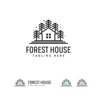 Forest house-logo entwirft vorlage, green house-logo-vorlage