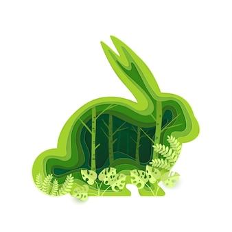 Form eines kaninchens mit einem grünen ökologischen konzept
