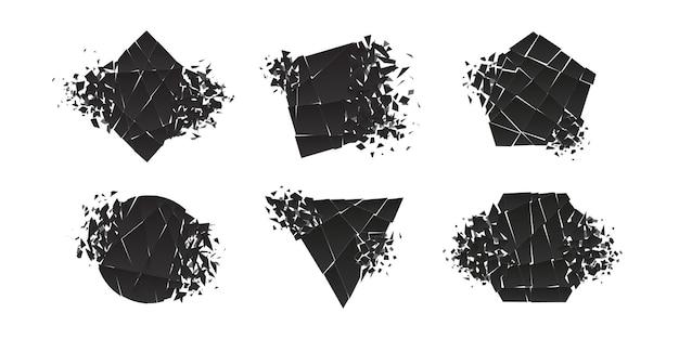 Form zerschmettert und explodiert flaches design-vektor-illustrationsset