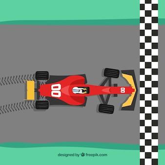 Formel-1-auto kreuzung ziellinie