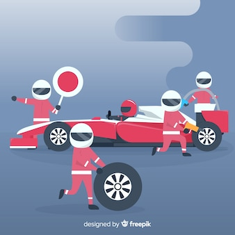 Formel-1-hintergrund mit boxenstopp-arbeiter