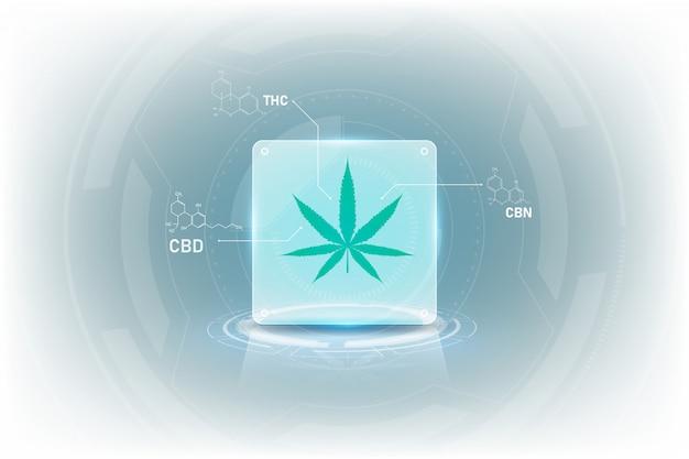 Formel der molekülstrukturchemie für medizinisches cannabis mit tetrahydrocannabinol