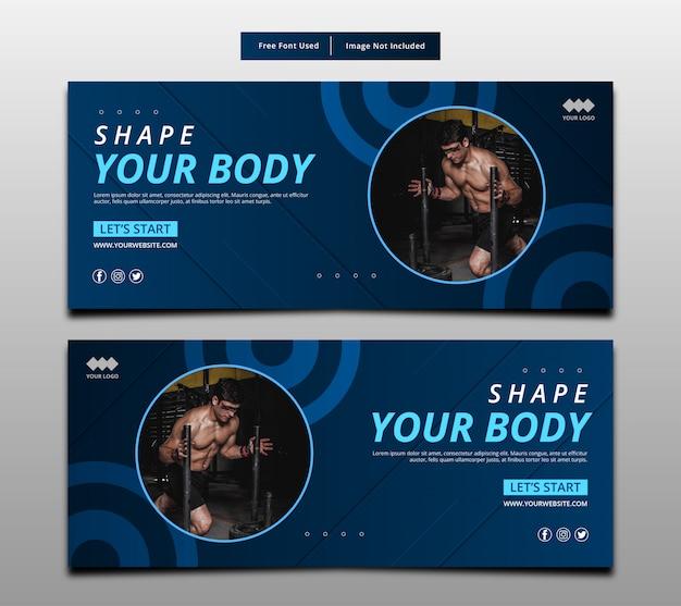 Formen sie ihren körper, fitness-grafik-layout-vorlage.