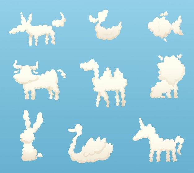 Formen von tierwolken, verschiedene lustige karikaturwolken
