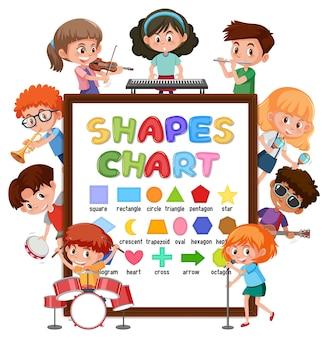Formt diagrammtafel mit vielen kindern, die verschiedene aktivitäten ausführen