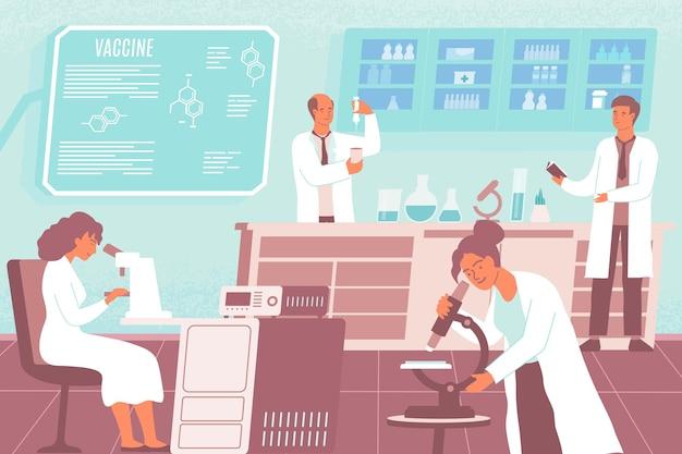Forscher der flachen zusammensetzung der impfstoffentwicklung erstellen und führen experimente durch, um einen impfstoff zu entwickeln