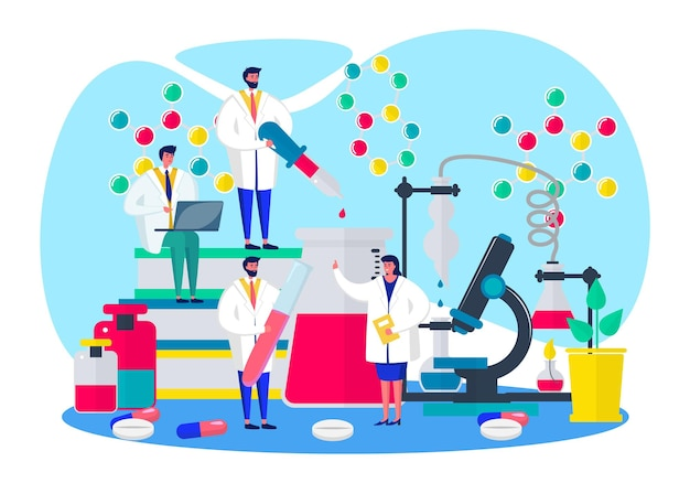 Forschung im laborkonzept vektor-illustration wissenschaftler mann frau charakter machen experiment in ...