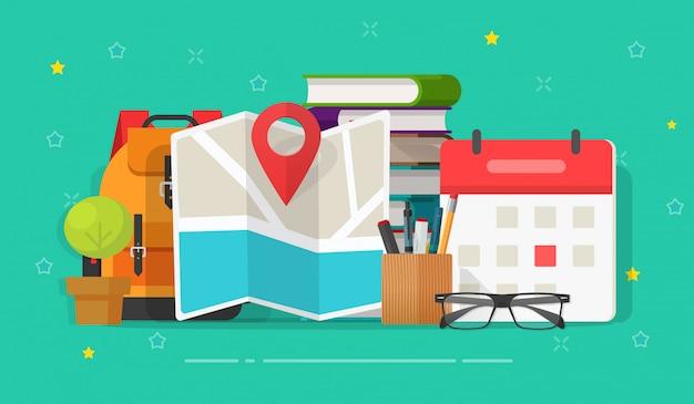 Forschung reise oder geschäftsreise ziel planung zeitplan datum illustration flache karikatur
