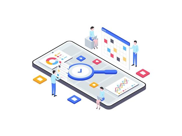 Forschung und entwicklung isometrische illustration. geeignet für mobile apps, websites, banner, diagramme, infografiken und andere grafische elemente.