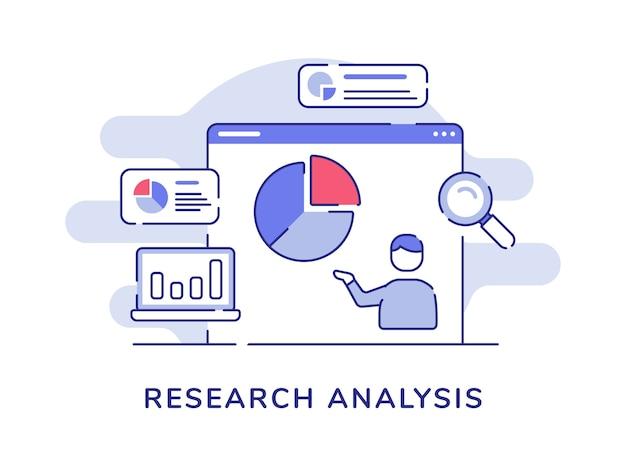 Forschungsanalysekonzept mannpräsentationsdatenstatistik-kreisdiagramm auf dem computerbildschirm mit flachem umrissstil