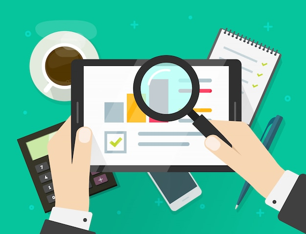 Forschungsbericht über verkaufsdaten für elektronische audits auf tablet- oder finanzqualitätsanalysestatistiken mit flacher karikatur der wachstumsdiagramme