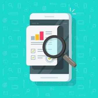 Forschungsberichtergebnisse auf handy oder qualitätsdaten und rechnungsprüfungsstatistik auf flacher karikatur der mobiltelefonillustration