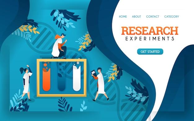 Forschungsexperiment gesundheitsbanner. junge wissenschaftler untersuchten flüssigkeiten in röhrchen.