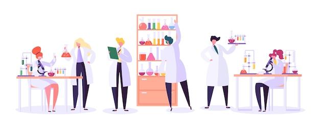 Forschungskonzept für pharmazeutische labors. wissenschaftler charaktere, die im chemielabor mit mikroskop für medizinische geräte, kolben, röhrchen arbeiten.