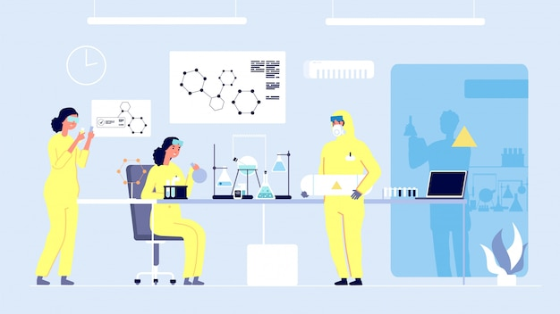 Forschungslabor. wissenschaftlerinnen, professionelles medizinlabor. doktorandenausbildung, chemiestudenten und ausrüstung. konzept für medizinische innovation und experimente