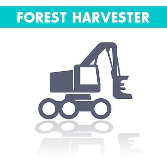 Forst-harvester-symbol, fäller buncher auf rädern isoliert über weiß