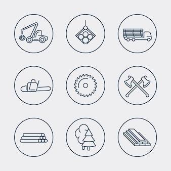 Forstwirtschaft, holz, baumernte, sägewerk-liniensymbole