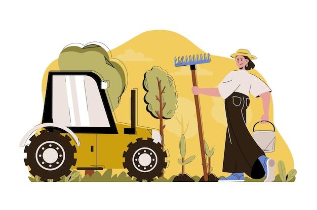 Fortgeschrittene landwirtschafts-webkonzeptillustration mit flachem menschencharakter