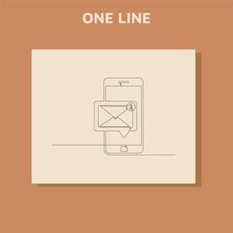 Fortlaufende strichzeichnung der chat-nachricht auf dem smartphone.