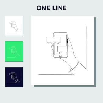 Fortlaufende strichzeichnung der chat-nachricht auf dem smartphone
